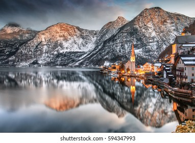 Panorama of Hallstatt, Austria.Europe