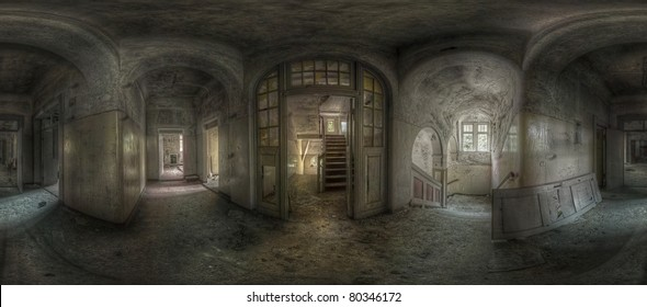 panorama of a hallway with staircases in an abandoned complex, hdr processing