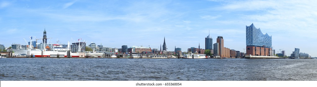 Panorama of Hamburg harbor from museum ship Cap San Diego to HafenCity quarter with Elbphilharmonie concert hall