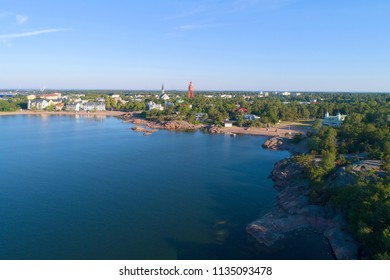 Panorama of Hanko on a sunny July morning (aerial photography). Southern Finland
