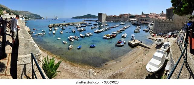 Panorama of Harbor in Dubrovnik Croatia Panorama
