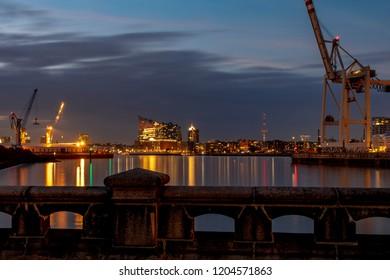 Panorama of the Harbor of Hamburg at sunset