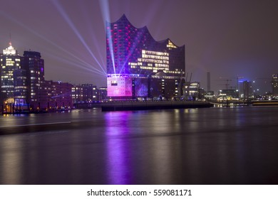 Panorama Harbour Hamburg with lightshow
