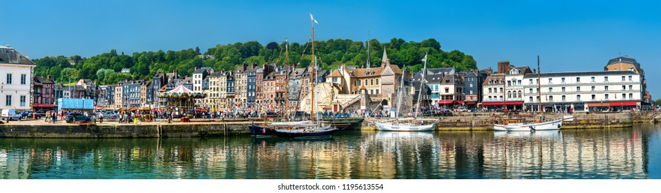 Panorama of the harbour of Honfleur. UNESCO world heritage in Calvados, Normandy, France