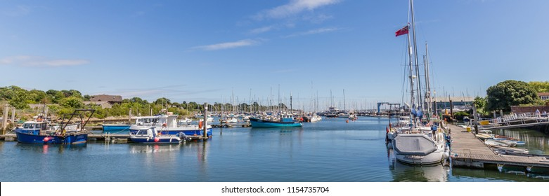 Panorama of the harbour of Lymington in the New forest area in  Hampshire, Engeland, UK