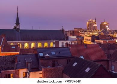 Panorama of Hasselt at night. Hasselt, Flemish Region, Belgium.