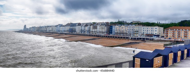 panorama of Hastings Town coast line from the Pier, East Sussex, England