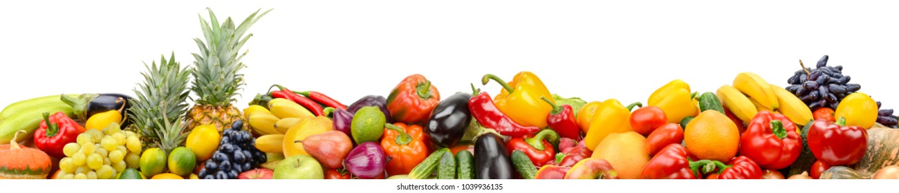 Panorama of healthy vegetables and fruits isolated on white background. Copy space