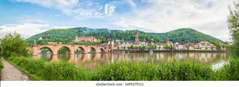 Panorama of Heidelberg made from side of Neckar river, Baden-Wurttemberg, Germany