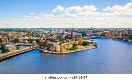 Panorama from height of bird's flight on observation deck on tower City Hall to Gamla Stan (Old Town), Stockholm, Sweden