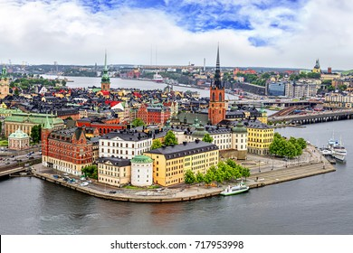 Panorama from height of bird's flight on observation deck on tower City Hall to Gamla Stan (Old Town), Stockholm, Sweden.