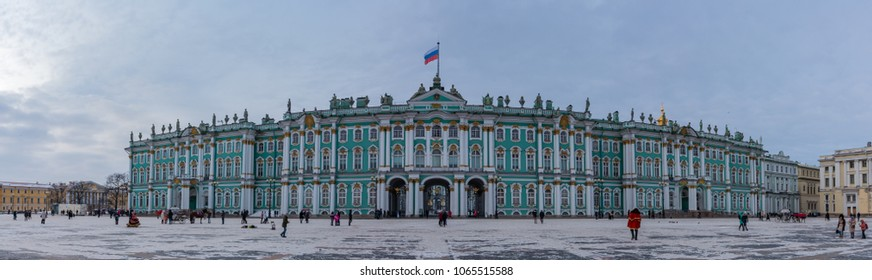A panorama of the Hermitage's main facade taken from the Palace Square.