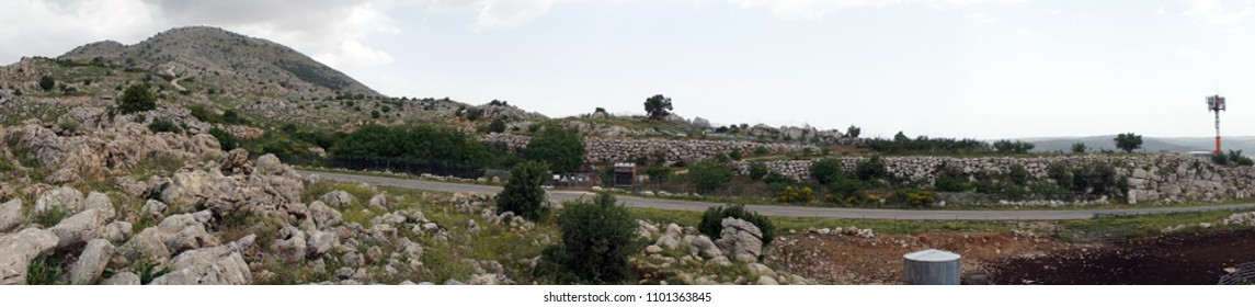 Panorama of Hermon mount in Golan Heights in Israel