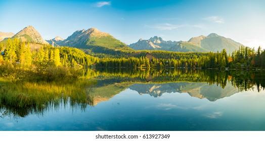 Panorama of high resolution mountain lake Strbske Pleso in Slovakia