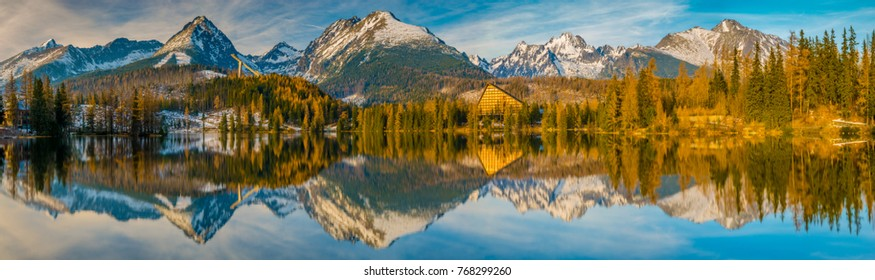 Panorama of high resolution mountain lake Strbske Pleso in Slovakia, lake in winter scenery