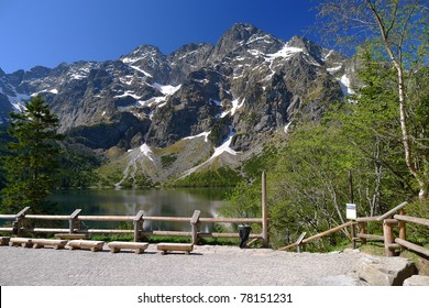 Panorama of High Tatra Mountains seen from Morskie Oko hut in spring