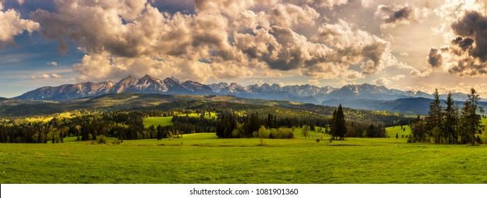 Panorama of high tatra mountains. High Tatras is a  mountain range along the border of northern Slovakia and southern Poland.