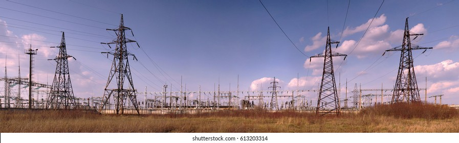 Panorama of high voltage substation. Distribution electrical power. Ukrainian oblenergo sale.