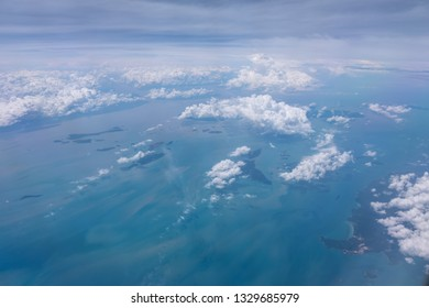 Panorama highland view in the sumatera ocean, day time, in Above Sumatera going to Malaysia. Perfect View with blue ocean passing Batam Island near Malaysia and Singapore.