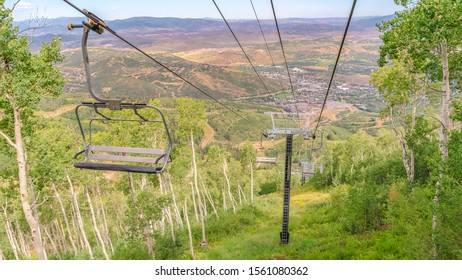 Panorama Hiking trails and chairlifts at a ski resort covered with greenery in summer