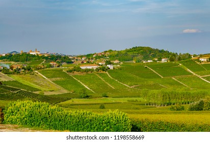 Panorama of hills in Canelli (Asti, Piedmont, Italy), Langhe and Monferrato area, renowned for the production of wine and World Heritage Site.