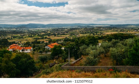 Panorama of hills and olive groves surrounding Belmonte, Castelo Branco, Portugal.