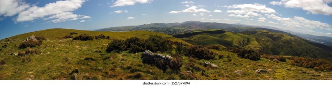 Panorama of the hills over Belmont Regional Park near Wellington, New Zealand