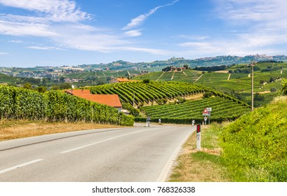 Panorama of the hilly region of the Langhe, Piedmont, Italy