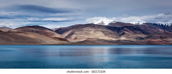 Panorama of Himalayan mountain lake in Himalayas Tso Moriri (official name: Tsomoriri Wetland Conservation Reserve), Korzok,  Changthang area, Ladakh, Jammu and Kashmir, India