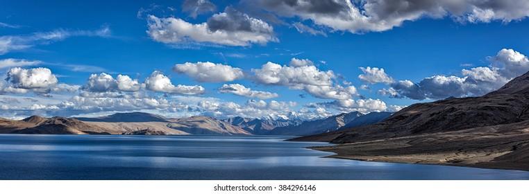 Panorama of Himalayan mountain lake Tso Moriri in Himalayas. Korzok, Changthang area, Ladakh, Jammu and Kashmir, India
