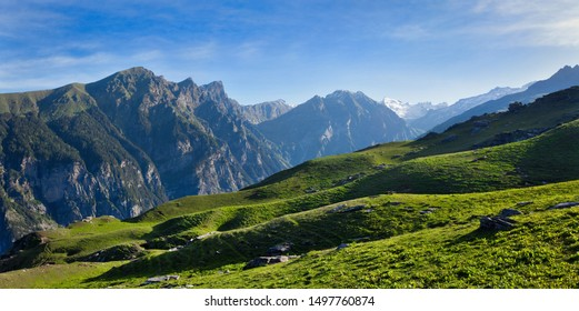 Panorama of Himalayas mountains. Kullu Valley, Himachal Pradesh, India