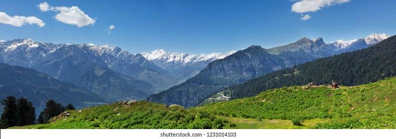 Panorama of Himalayas. Near Manali, Kullu Valley, Himachal Pradesh, India