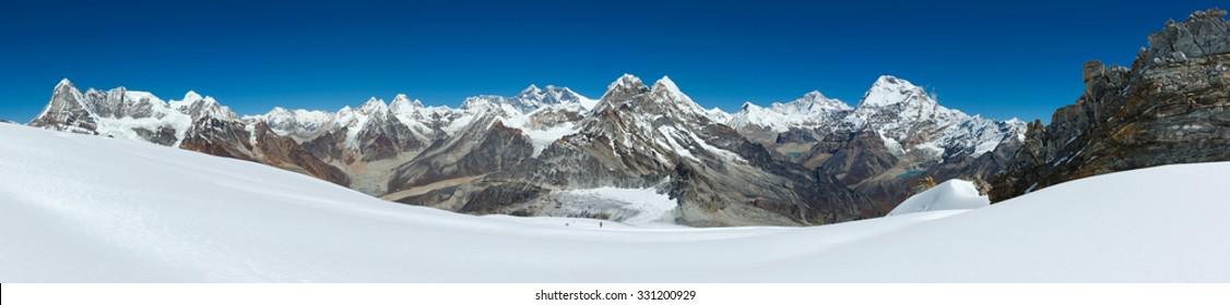 Panorama of Himalayas near the summit of Mera Peak, Nepal