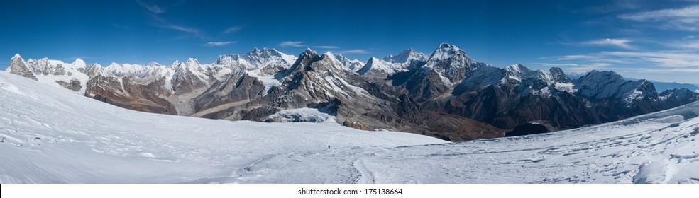 Panorama of Himalayas view from near Mera peak summit, Nepal