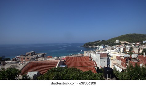 Panorama of Himara(Himare) town at the south of Albania, July 2015