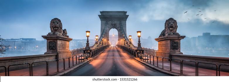 Panorama of the historic Chain Bridge in Budapest, Hungary
