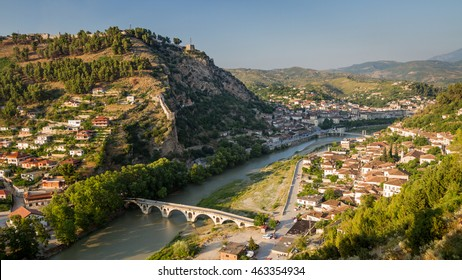 Panorama of the historic city of Berat in Albania