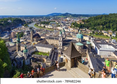 Panorama of the historic city of Salzburg, August 9, 2017 in Salzburg, Austria