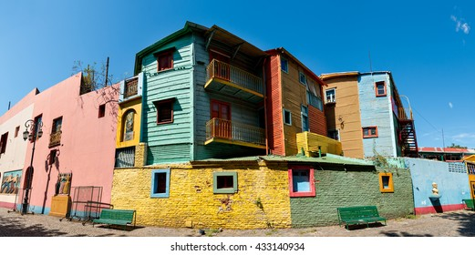 Panorama of the historic colorful neighborhood La Boca, Buenos Aires Argentine