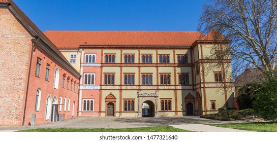 Panorama of the historic Furstenhof palace in Wismar, Germany