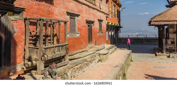 Panorama of the historic red brick building at the Bagh Bhairab temple in Kirtipur, Nepal