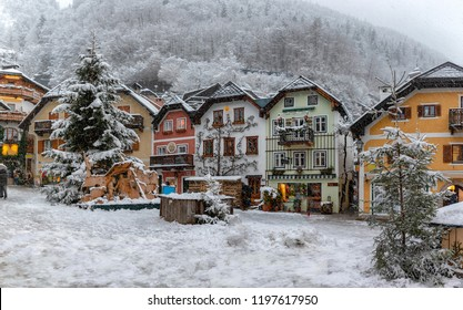 Panorama of the historic town of Hallstatt, Austria, with snow during christmas winter time