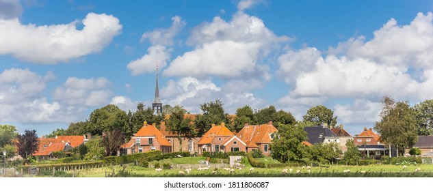 Panorama of the historic village of Niehove in Groningen, Netherlands