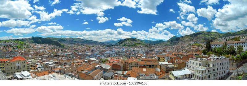 Panorama of the historical center of the capital of Ecuador from the Basílica of the National Vow. Quito. Ecuador.