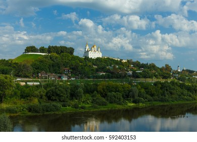 Panorama of the historical center of Vladimir city from the opposite bank of the river.