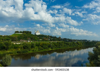 Panorama of the historical center of Vladimir from the opposite bank of the river Klyazma.