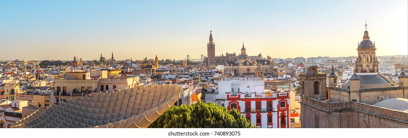 Panorama of the historical centre of Seville in Andalusia, Spain.