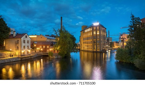 Panorama of historical textile industrial area and Motala river in Norrkoping, Sweden