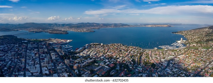 Panorama of Hobart showing the Tasman Bridge, CBD, Docks and Wrest Point Casino