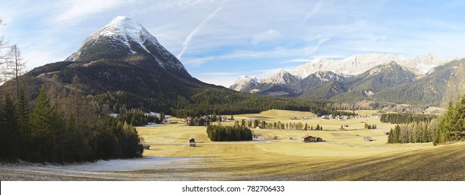 Panorama of Hohe Munde and the alp mountain Wettersten in Austria. In the foreground the plateau Of Obern/Moos nearby Leutasch/Seefeld
